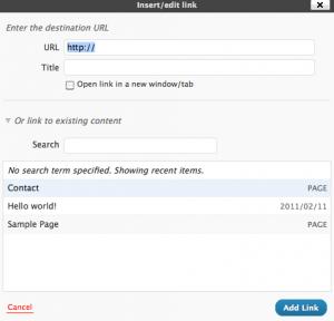 WordPress 3.1 Internal Linking Screenshot