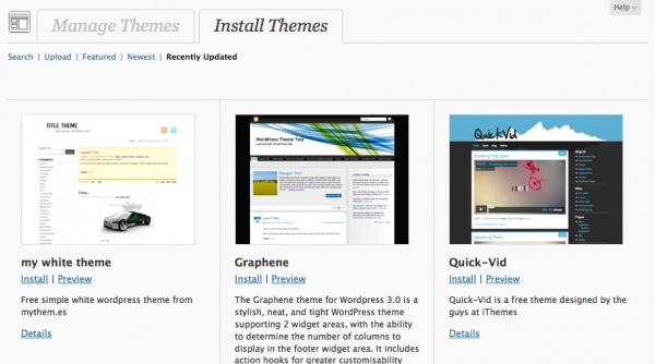 WordPress 3.1 Theme Browser/Installer Screenshot