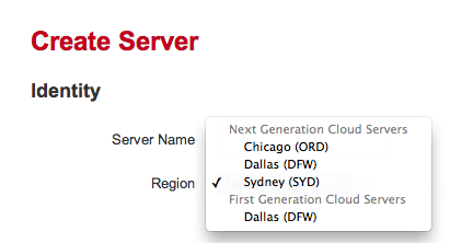 Rackspace Control Panel - Add New Server